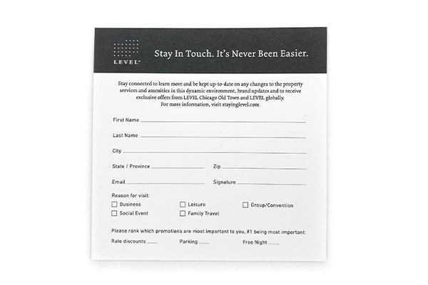 level comment card